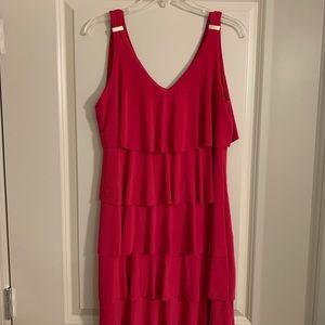 Fuchsia Ruffle Short Dress